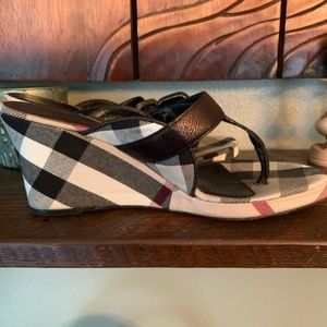 Burberry Shoes - Burberry Black Leather & Canvas Thong Wedges